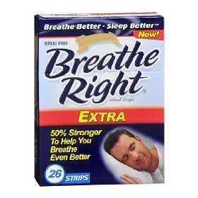 Breathe Right Extra Nasal Strips 26 Strips 50% Stronger, New