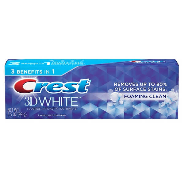 Crest 3d White Toothpaste Foaming Clean 1pack 4.8oz - 136g