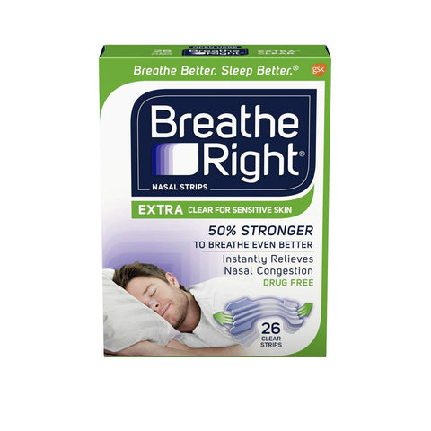 Breathe Right Extra Clear Nasal Strips to Stop Snoring, Drug-Free 26 count