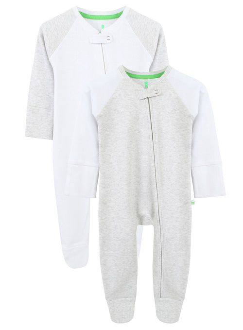 Grey and White Twin Pack Zipped Babygrow
