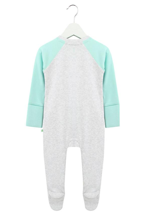 Grey and Aqua Zipped Babygrow
