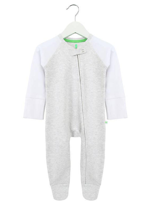 Grey and White Zipped Babygrow