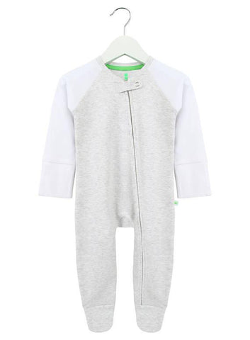Grey Bear Print Zipped Babygrow