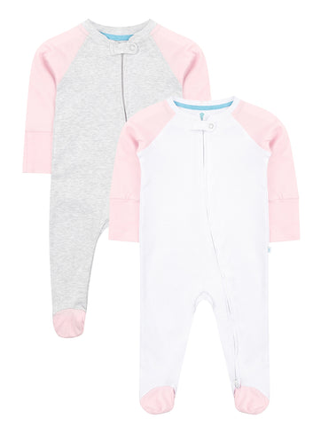 Pink Twin Pack Zipped Babygrow