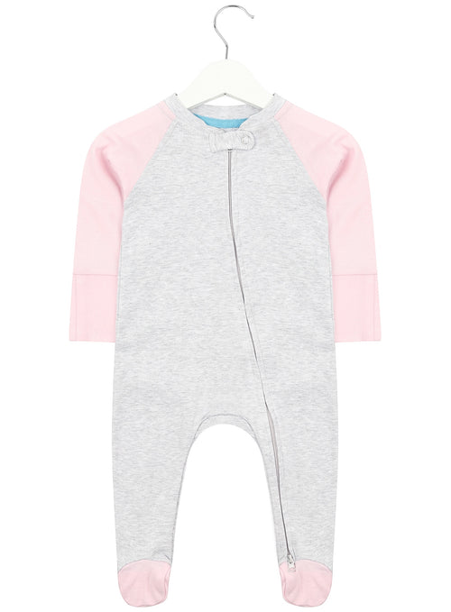 Grey and Baby Pink Zipped Babygrow