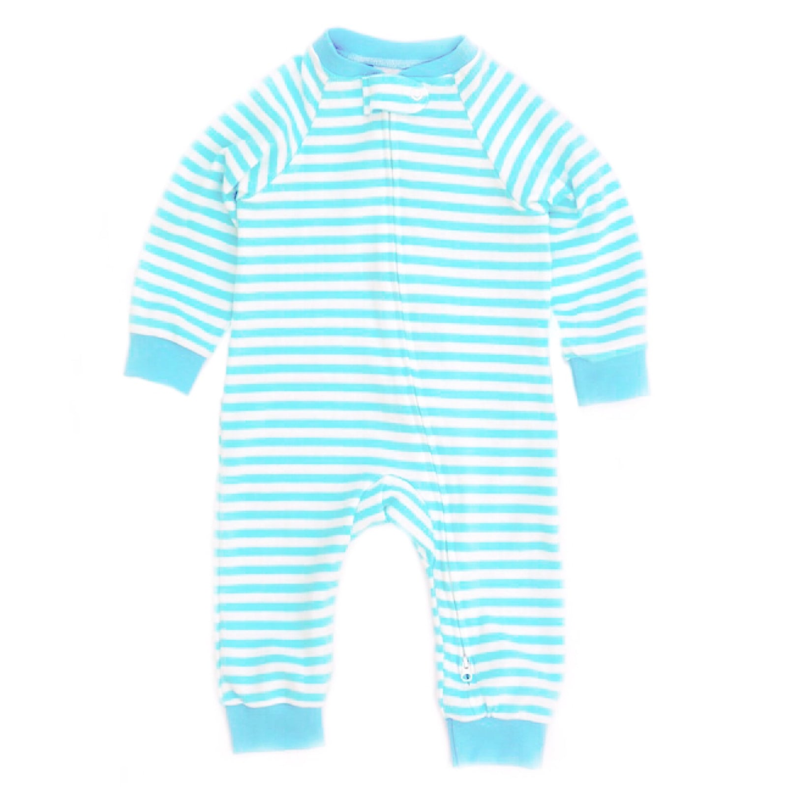 Aqua And White Stripe Zipped Footless Babygrow