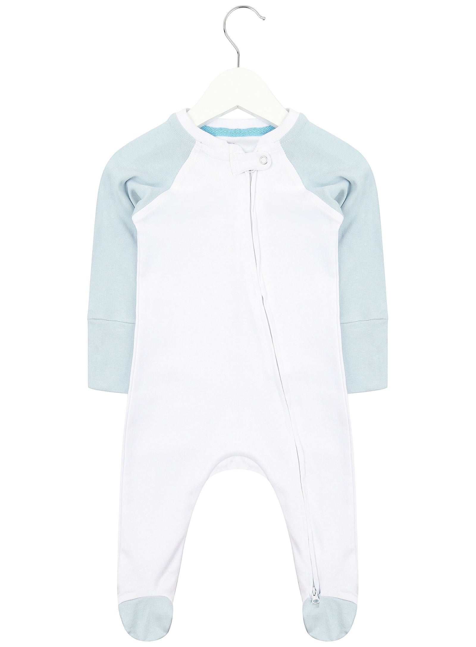 Baby Blue Twin Pack Zipped Babygrow