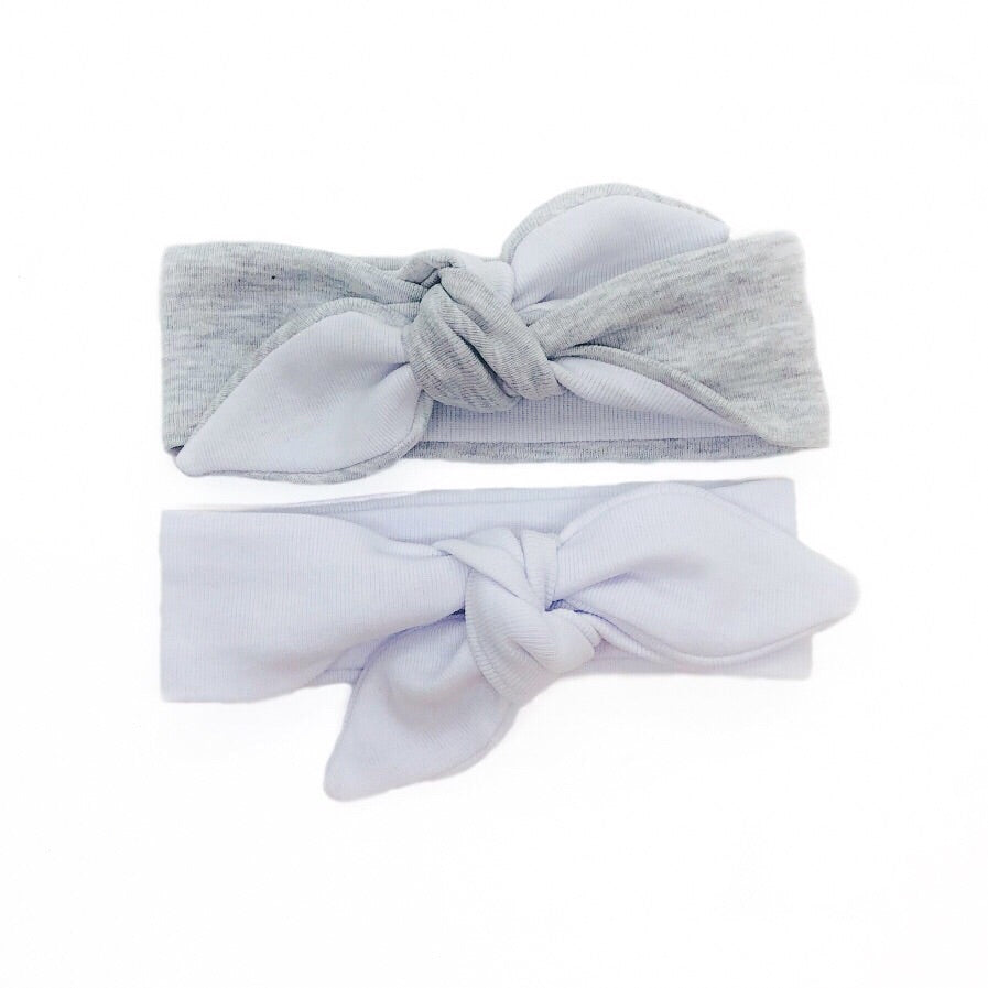Baby & Toddler Knotted Hair Band/Bow - White and Grey