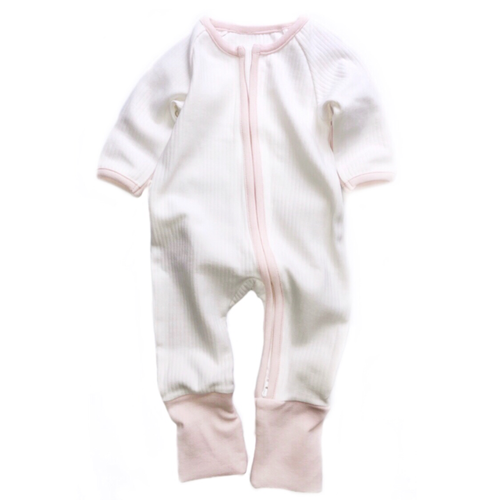 White And Pink Ribbed Zipped Footless Babygrow