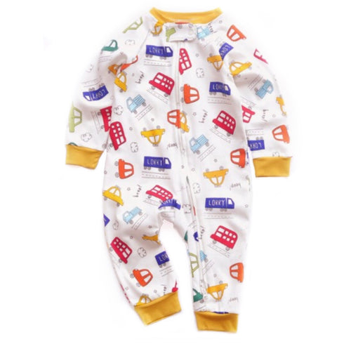 Cars And Buses Print Zipped Footless Babygrow