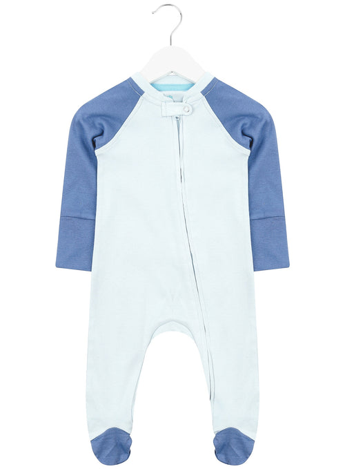 Baby Blue and Blue Zipped Babygrow
