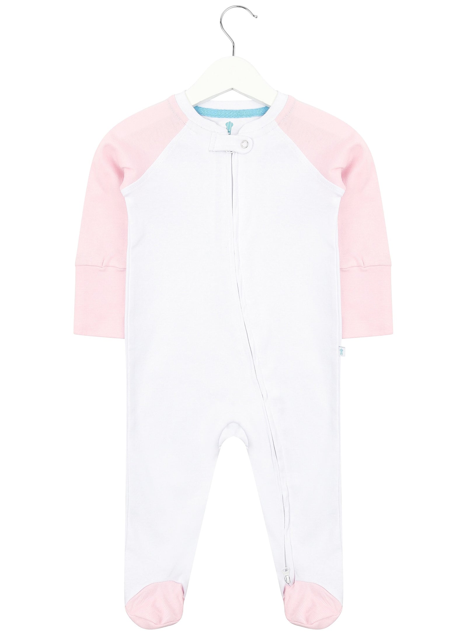 White and Baby Pink Zipped Babygrow