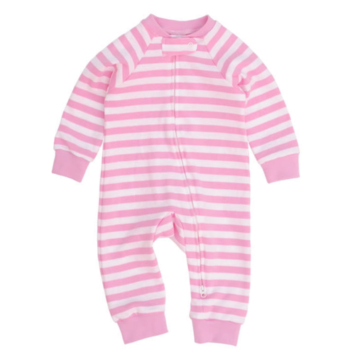 Candy Pink And White Stripe Zipped Footless Babygrow