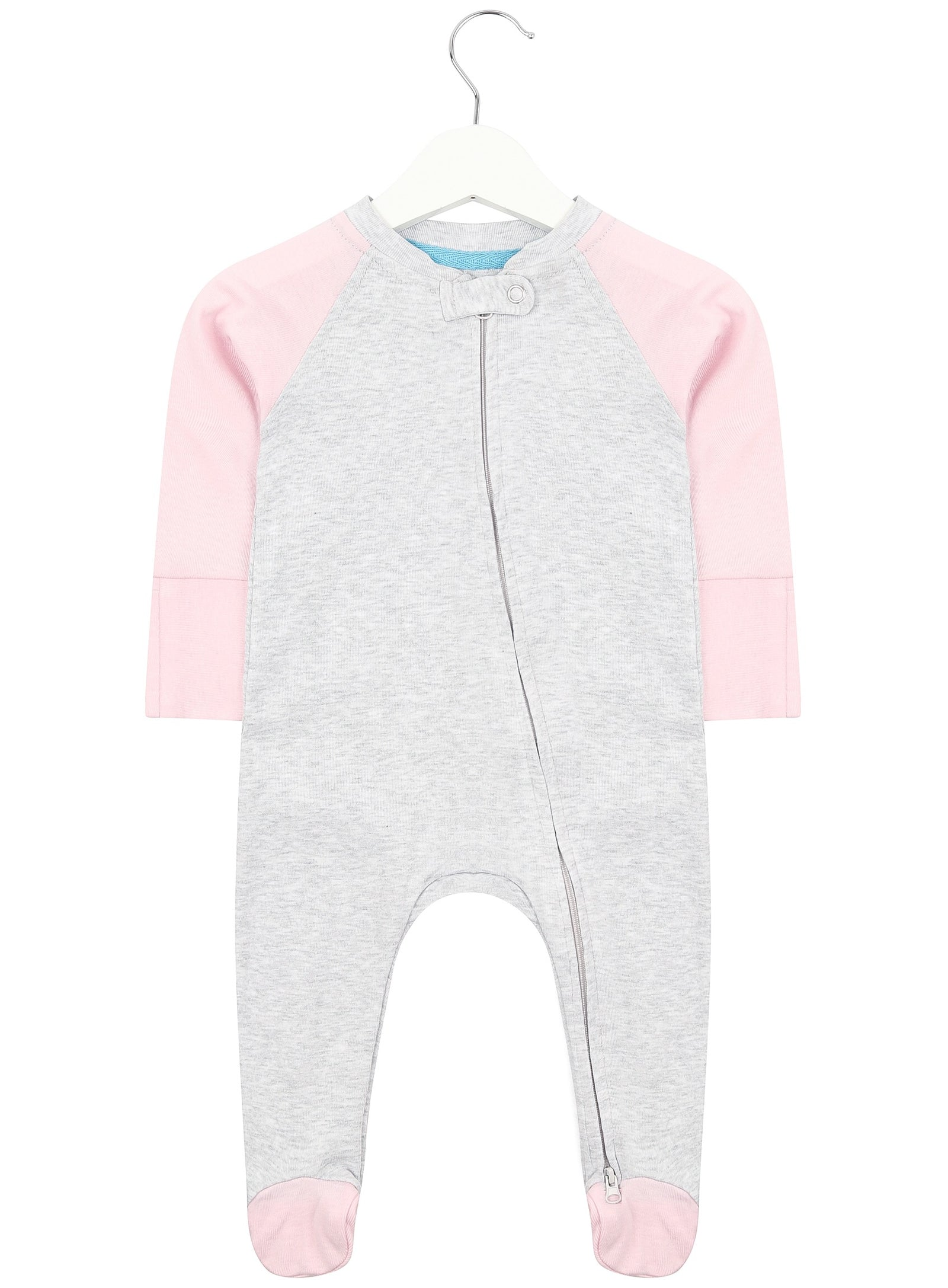 Baby Pink Twin Pack Zipped Babygrow