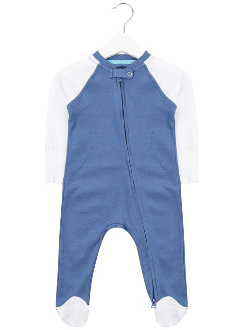 Blue and White Zipped Babygrow