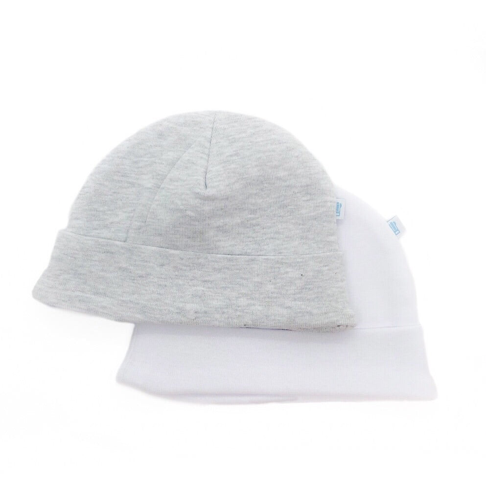 White and Grey Baby Hat 2 Pack