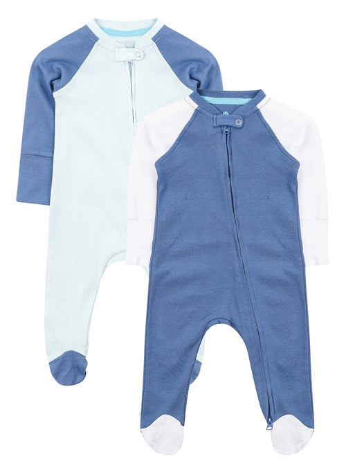 Blue Twin Pack Zipped Babygrow