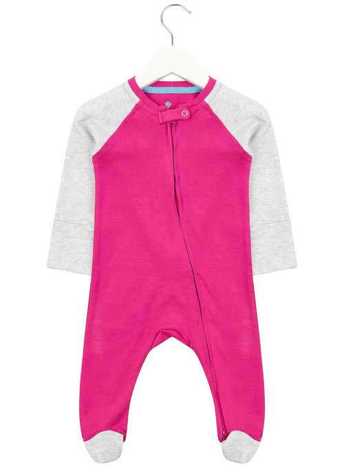 Pink and Grey Zipped Babygrow