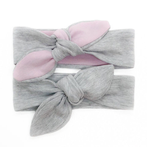 Baby & Toddler Knotted Hair Band/Bow - Grey and Baby Pink