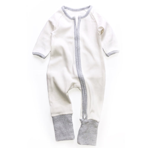 White And Grey Ribbed Zipped Footless Babygrow