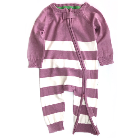 Hooded Nautical Stripe Zipped Onesie