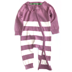 Super Soft Plum Pink Stripe Knitted Baby Onesie