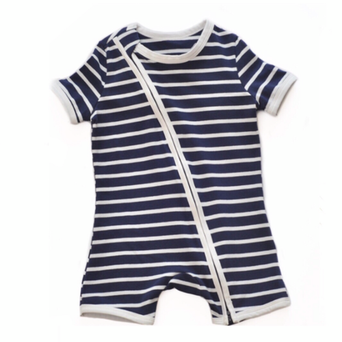 Nautical Stripe Short Sleeved Zip Up Babygrow