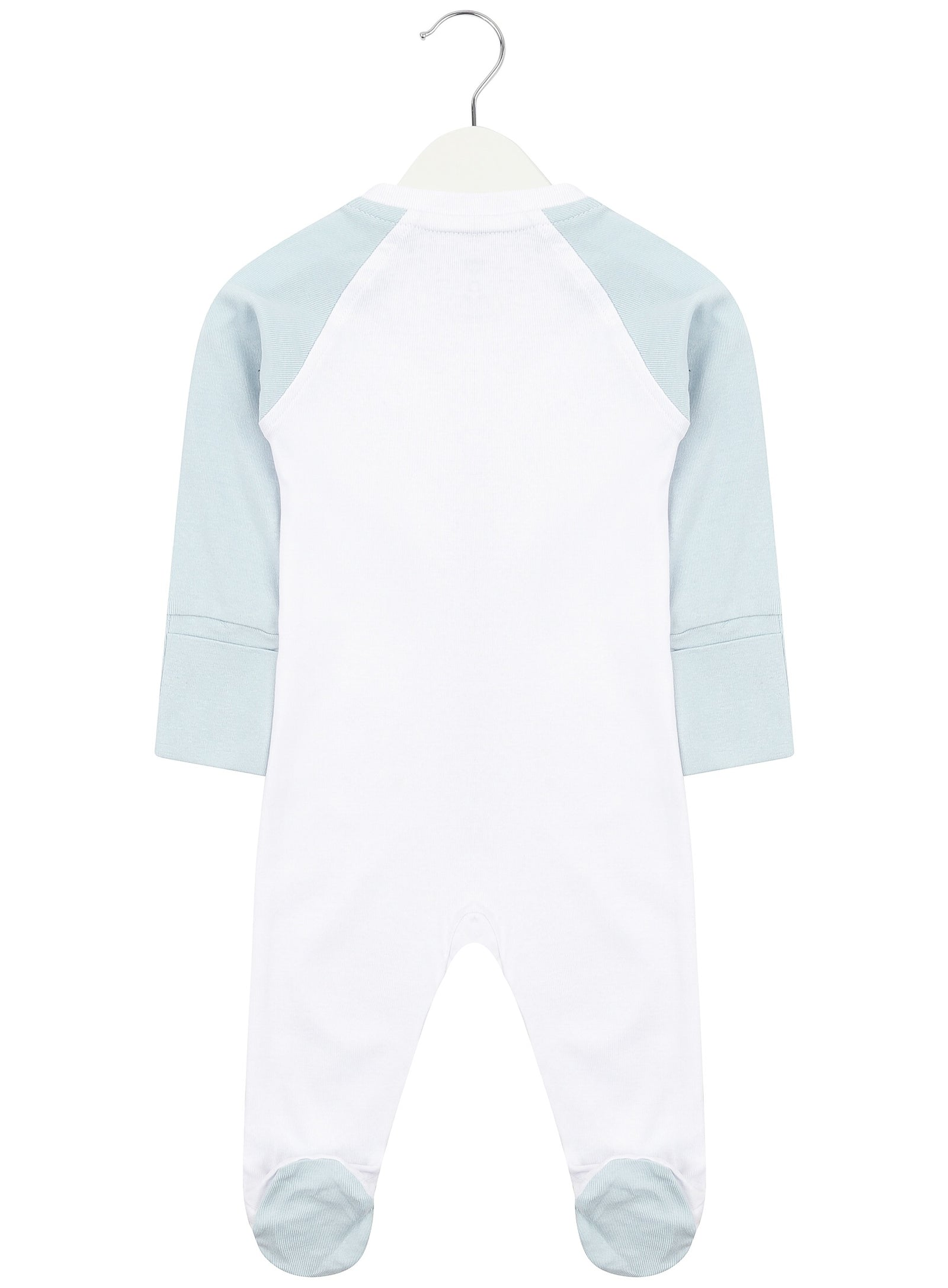 White and Baby Blue Zipped Babygrow