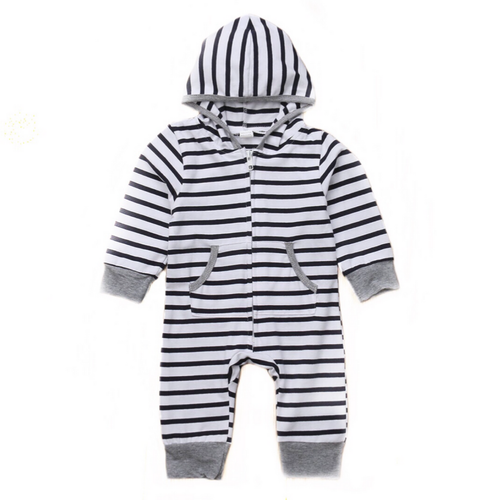 White and Navy Striped Hooded Zipped Onesie