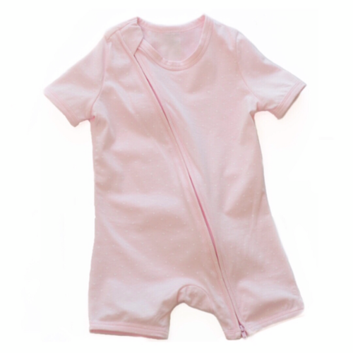 Pink And White Spot Short Sleeved Zip Up Babygrow