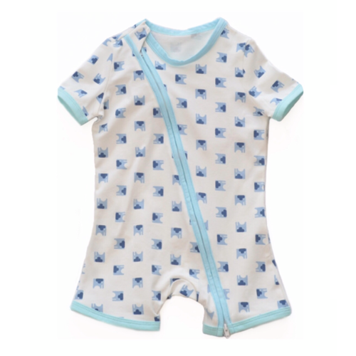 Blue Elephant Short Sleeved Zip Up Babygrow