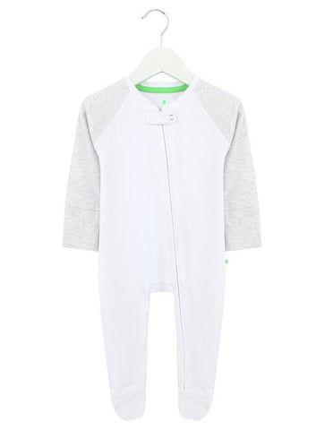 White and Blue Ribbed Zipped Footless Babygrow