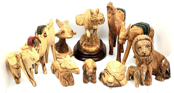 animal statues olive wood