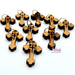 10 olive wood crosses - 10 Pieces total - Charms for Rosaries - Gifts For Friends PEN213 - Zuluf