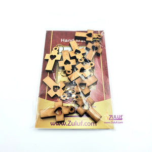 10 Olive Wood Crosses Bracelet Supplies Pen229 - Zuluf