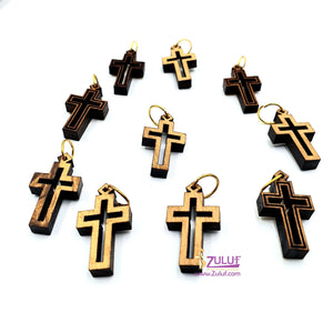 10 Olive Wood Crosses Pen227 Rosary Supplies Charms - Zuluf