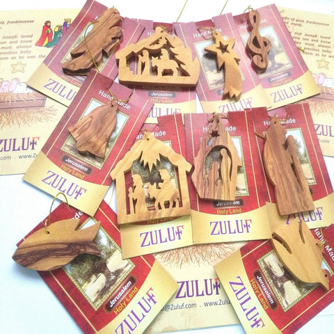 10-Piece Christmas Ornament Set Bethlehem Olive Wood - Zuluf ORN040 - Zuluf