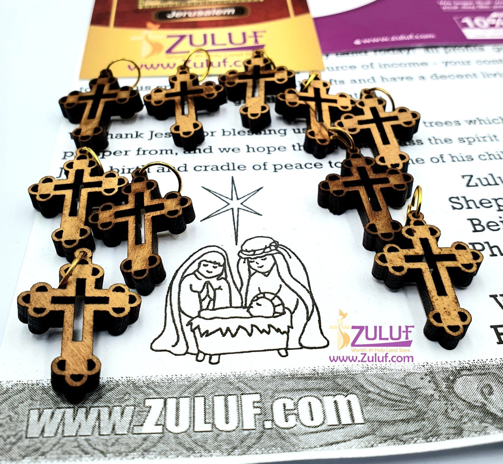 10 Small Olive Wood Crooses Olive Wood Crucifix From Jerusalem Pen218 - Zuluf