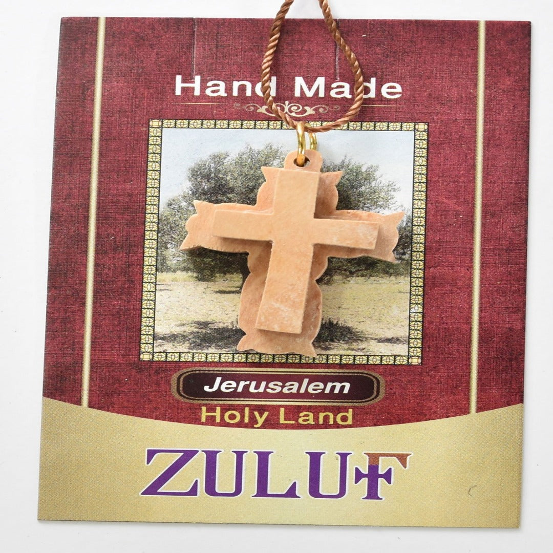 2 Layers Olive Wood Cross Pendant Necklace Hand Carved Christian Gift Israel (OW-PEN-055) - Zuluf