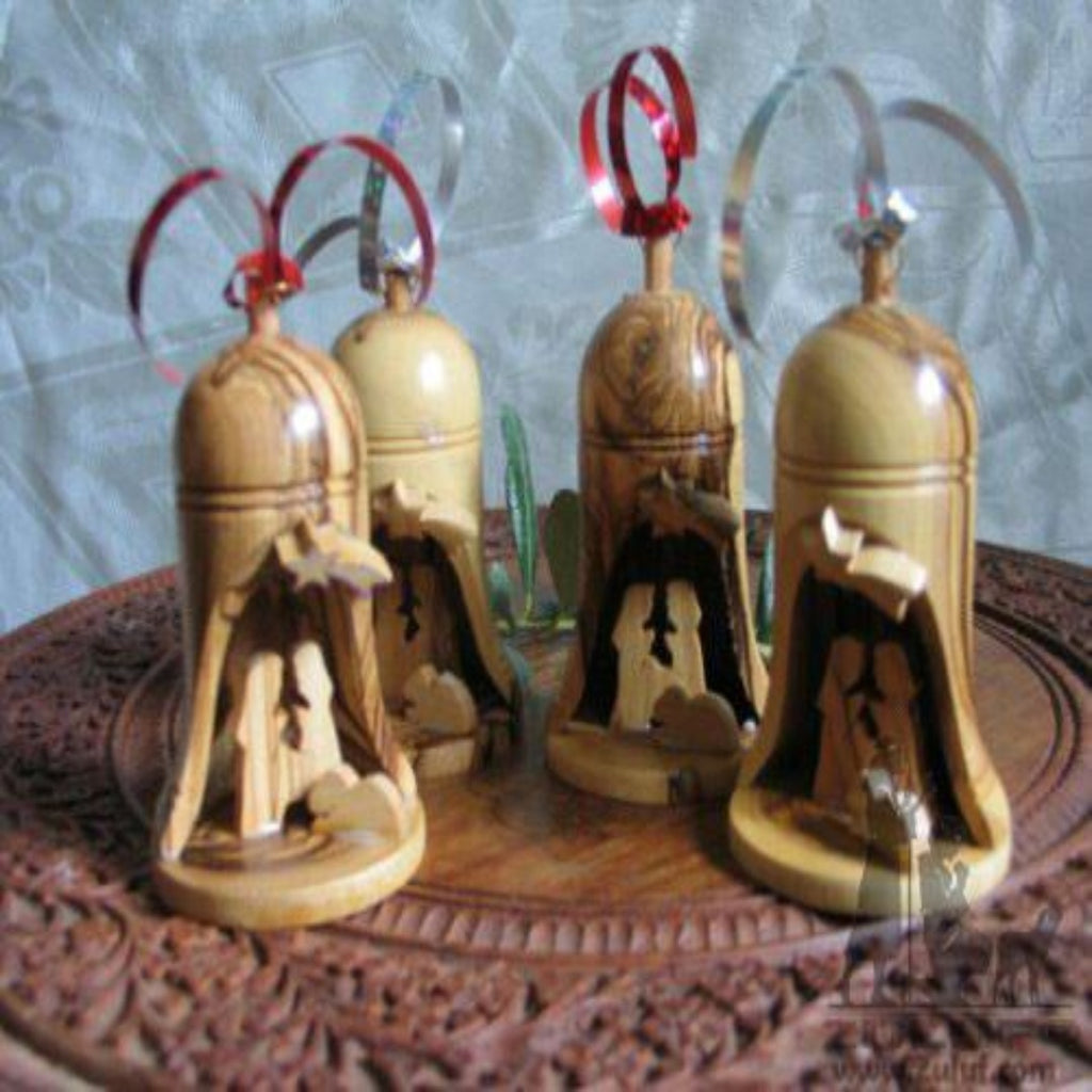 4 Olive Wood Bell Christmas Ornaments From Bethlehem - Zuluf ORN042 - Zuluf
