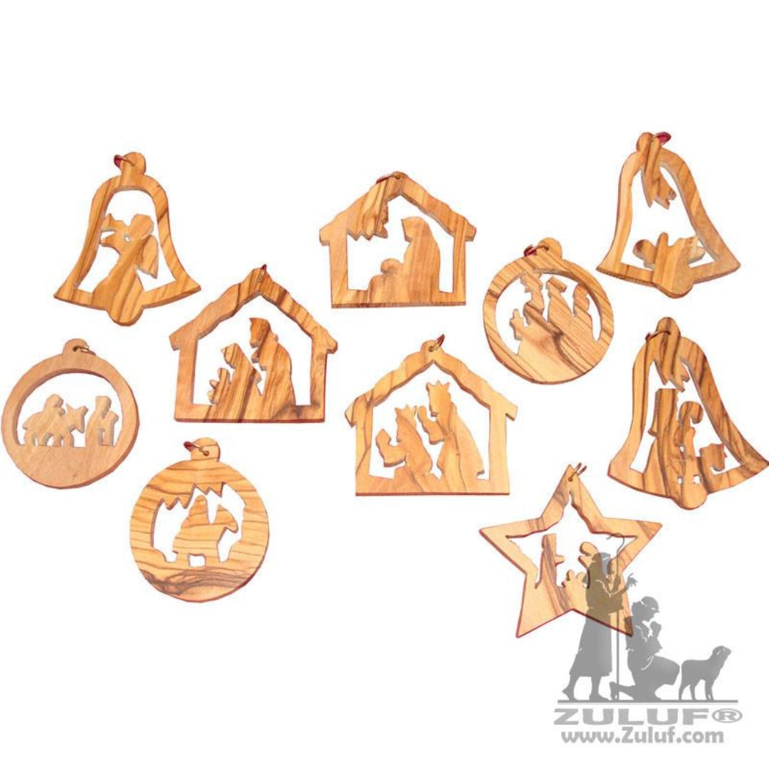 6.5cm Christmas Tree Ornaments Set Hand Carved Bethlehem Holy Land - 6.5* Zuluf ORN017 - Zuluf