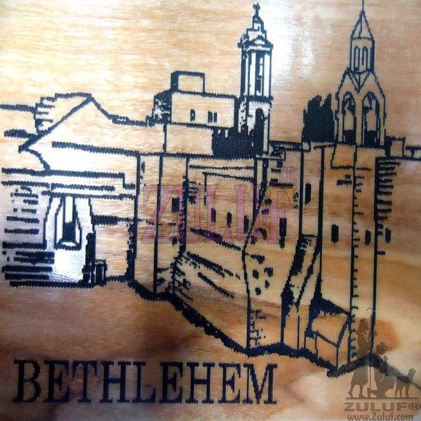 Wooden Carved Church Nativity On Wood Icon Bethlehem Craft Art from Holy Land - MAG017