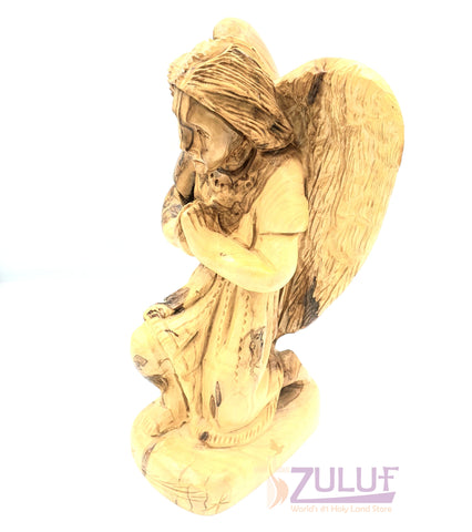Image of 19cm Praying Angel Nazareth Olive Wood By Zuluf Angel For Sale Wholesale ANG029 - Zuluf
