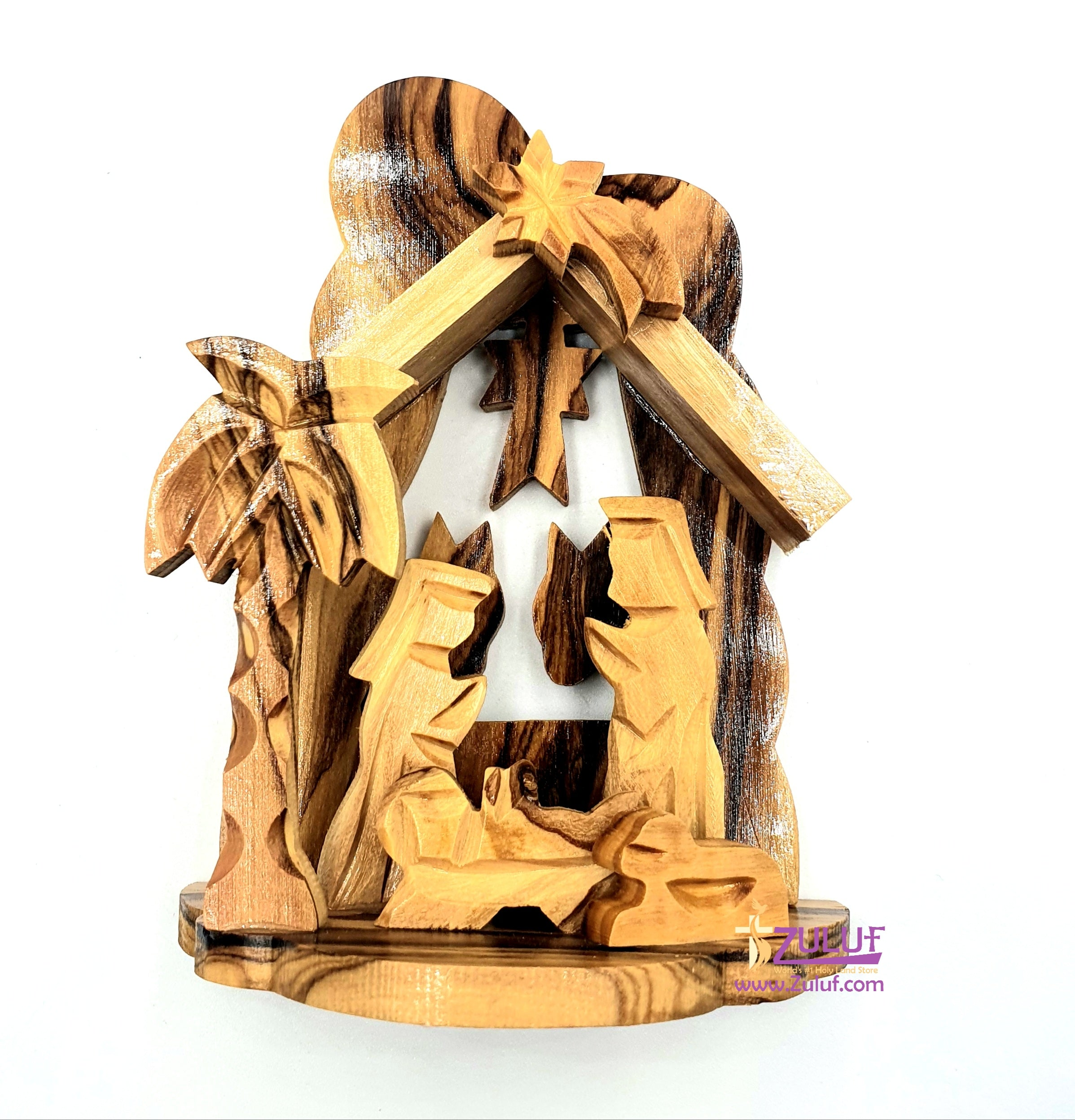 Olivewood Olive Wood Nativity 11cm Scene Set From Jerusalem Holy land  by Zuluf - NAT010