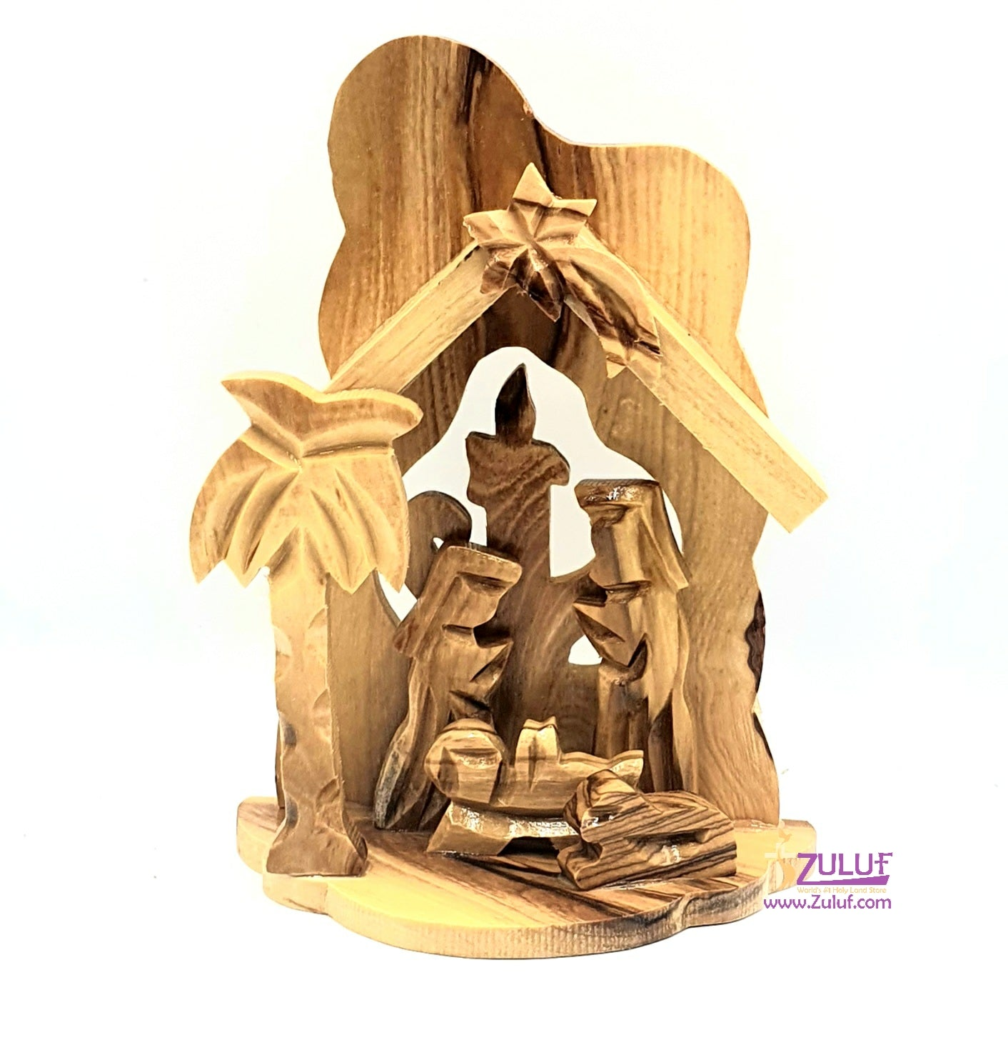 Olive Wood Small Candle Nativity Hand Made-NAT009
