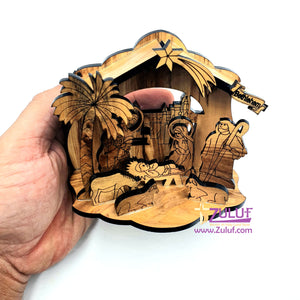 Zuluf Olivewood Olive Wood Musical Laser Nativity Scene Set Jerusalem - NAT005