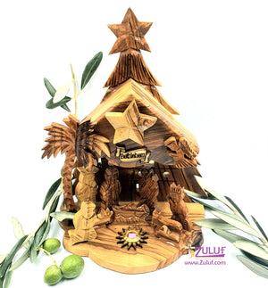 Zuluf Olive wood hand made Nativity with bell 15cm NAT200