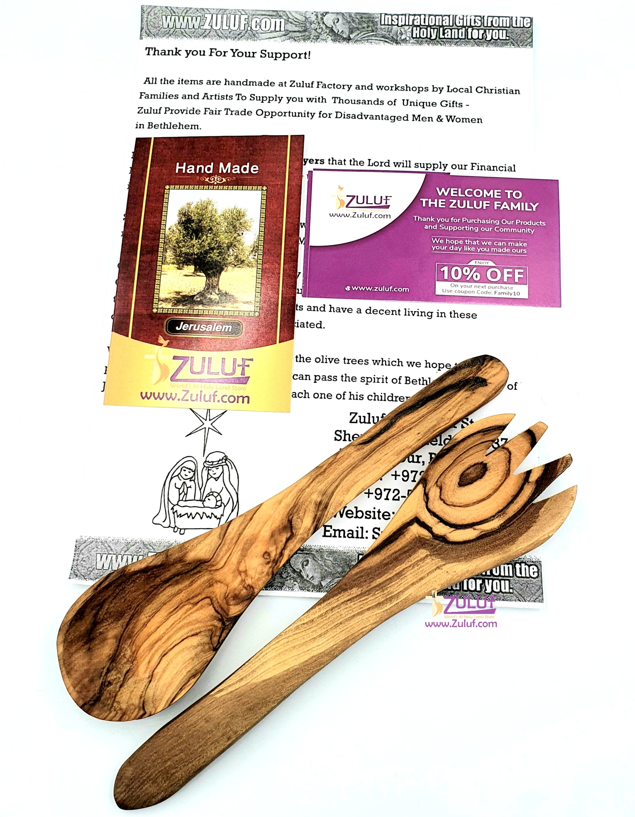 Set of two pieces of olive wood ladle and fork KIT027