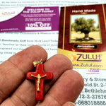 Red Holy Land Stone Cross with Golden Crucifix by Zuluf PEN204