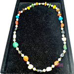 ⭐ A Rare Special Holy Land Stones Necklace with Golden Spacers Very Unique Design natural Stones 70cm / 27.5 Inches Long - SPEC001 - Zuluf